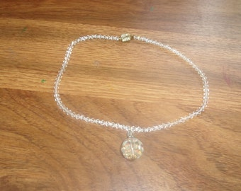 vintage necklace choker glass bead prism pendant