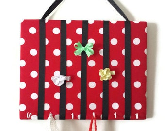 Hair Bow Holder Small-Medium-Large Red and White Polka Dot Padded Hair Bow Organizer with Hooks for Headbands