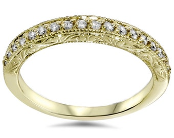 Gold Diamond Ring, Yellow Gold Diamond Wedding Ring 1/2CT Diamond Vintage Antique Style Wedding Ring Stackable Band 14 K Yellow Gold Womens