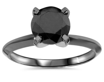2.00 TCW 14k Black Gold Round Cut AAA Black Diamond Solitaire Engagement Ring