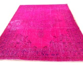"""9'10"""" x 7'3""""   300 X  220 CM -  Vintage hot Pink fuchsia pink  blue Overdyed Recolored chicethnic handmade rug CARPET"""