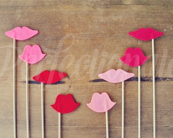 8 Lips Props | Lips Photo-Booth Props | Bridal Shower Props | Bachelorette Props | Gender Reveal Props
