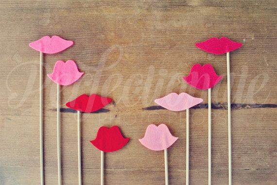 8 Soft Felt Lips Props | Lips Photo-Booth Props | Wedding Photo-Booth Props | Felt Photo-Booth Props | Gender Reveal Props
