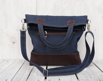 Tote Bag Leather, Navy jeans canvas messenger Cross Body, Women laptop carrier, Unique gift for college student, Gift for women