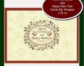 1.55 oz candy bar wrapper elegant Merry Christmas
