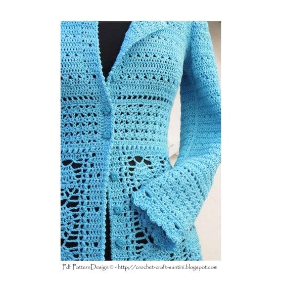 Lace Cardigan Crochet Pattern - Instant Download