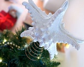 Large White Knobby Starfish Tree Topper on a Sturdy Gold Base - 6.5 Inches - Christmas Decor Base - Beachy Christmas Decor - Ready to Ship