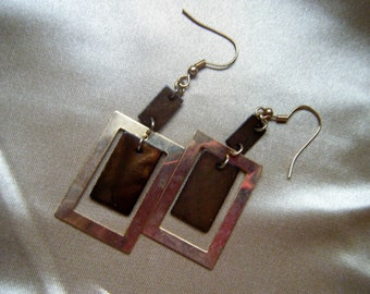 Geometric Square Pierced Earrings , 1980's Jewelry and Fashion
