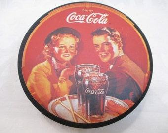 Vintage Coca-Cola  Coke Collectible Round Tin - 1988