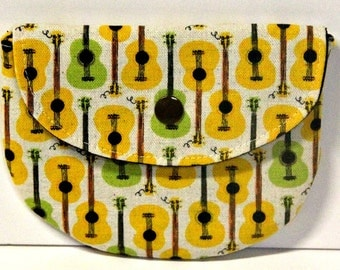 Yellow and Green Guitars Pacifier Pouch, Pacifier Pouch, Pacifier Holder, Coin Purse, Small Wallet, Card Holder, Small Wallet, Binky Pouch