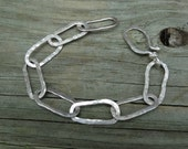 Large Link Chain bracelet, hand forged sterling silver, chunky, one of a kind artisan metalsmith bracelet