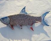Tarpon Fish Large Metal Wall Art Red Bud Light Bottle Caps