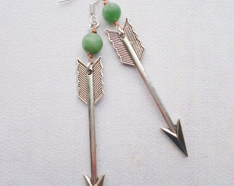 Steampunk Neo Victorian Silver Arrow with Mint Beads and Wrapped in Copper Wire