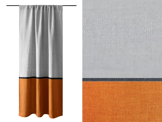 Color Block Curtain Grey And Rust Oragnge Linen By Lovelyhomeidea