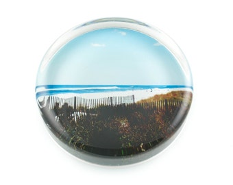 Glass Paperweight, Gift For Him, East Of Coopers Beach Paperweight, Southampton N.Y. Handmade Gift
