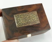 ANTIQUE WOOD BOX - sailor  - seamans box - folk art  - snuff box cs