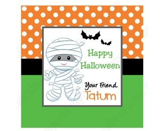 DIY Halloween #2 Personalized Gift Tag PRINTABLE tag sticker label mummy