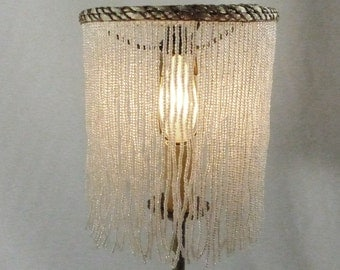 Lamp Shade Fringe Beaded Antique Vintage Handmade Custom Off White Glass Seed Beads