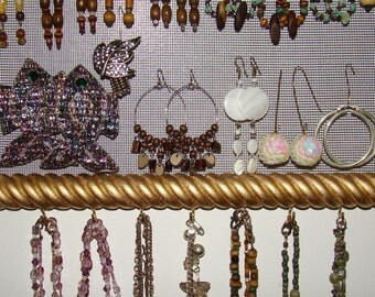 Jewelry Organizer Hanging Jewelry Holder Display with Hand Beaded Hanger 'Goldie'