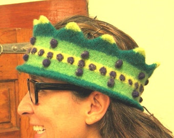 One of  Kind Hand Knit and Felted 3 Green Adult Crown Headband