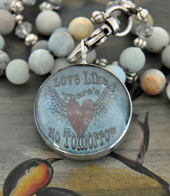 Love like theres no tomorrow, statement necklace, layering necklace, amazonite, boho chic, long necklace,  knotted and beaded necklace