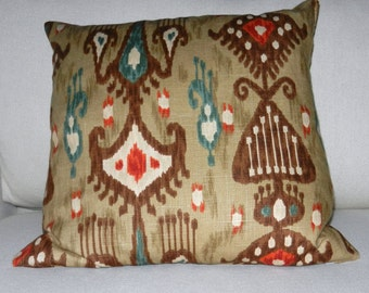 Ikat Pillow Cover Brown, Tan, Rust, Blue Cotton Linen Slub  Fabric - 18 x 18 inch with zipper closure for Bed, Sofa, Chair