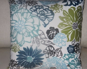 Floral Pillow Cover Ivory, Green, Turquoise, Blue, Taupe, Brown, Cotton Screen Print by Richloom, 16 x 16 inch, for bed sofa  chair