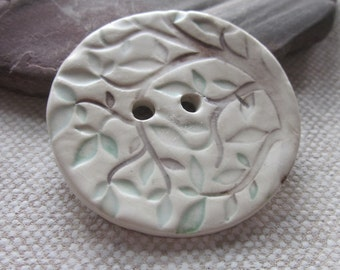 Brown Green Tree Texture Ceramic Button