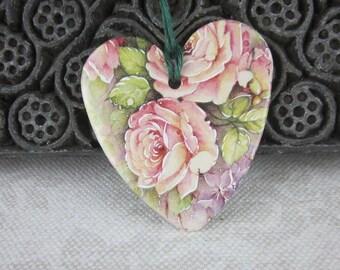 Large Pale Pink Rose Floral Ceramic Heart Ornament