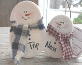 Grandparents / Mom and Pop Gift Personalized Snowman Salt Dough Ornament / Christmas Decoration / Grandparents Gift