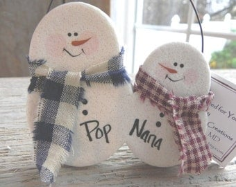 Snow Couple Snowman Personalized Salt Dough Ornament / Christmas Decoration / Grandparents Gift