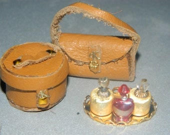 Dolls house miniature tan  case and bag leather handmade bottles gift