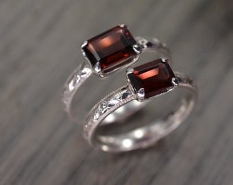 Red Garnet Ring, all sizes, emerald cut silver milgrain solitaire, January Birthstone - Fitz Ring