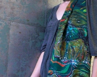 Horse Rises From the Earth and Merges With the Wind   - Silky faille scarf -    from original batik -