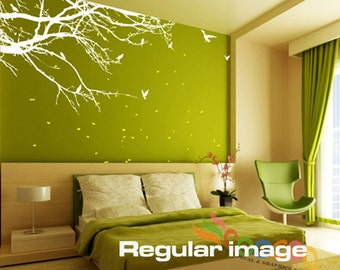 """Wall Decal, wall Stickers ,Tree Wall Decals ,Wall decals, Nursery wall decal, Removable: Small size Corner Top Branch 60""""W 2 Colors"""