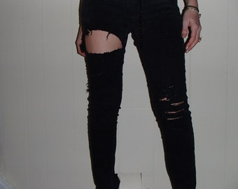 Nyz Designs /Re Worked Ripped Cut/ Thigh Knee Skinny Black /Washed Out Jeans