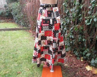Cotton Skirt / Skirt Vintage / Patchwork Pattern / Long Cotton Skirt / Cotton Skirt Maxi / Size EUR38 / 40 / UK10 / 12