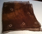 "Vintage Silk Chiffon Hankie Brown and Cream 17"" Square"