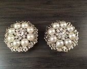 "Bridal 1 inch Plugs 25mm Rhinestone and Pearl Wedding Gauges  28mm 1 1/8"" Wedding Plugs Gauged Earrings"