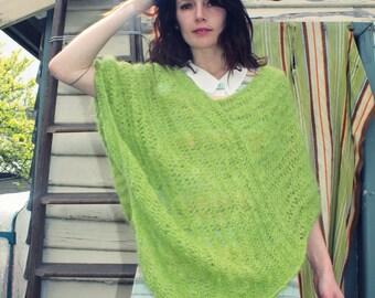 lime green vintage shawl poncho 70s