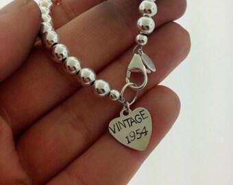 Sterling silver 60th Birthday Bracelet, 60th Birthday git, 50th birthday gift, Milestone birthday