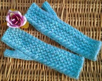Womens ladies teens wristwarmers armwarmers fingerless gloves mitts handknit with turquoise blue / mauve fleck Merino Mohair yarn