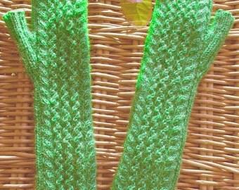 Womens girls teens wristwarmers armwarmers handwarmers fingerless gloves handknit Bright Green Emerald Merino Mohair yarn - St Patricks Day