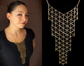 Statement bib necklace, modern geometric minimalist gold tone necklace