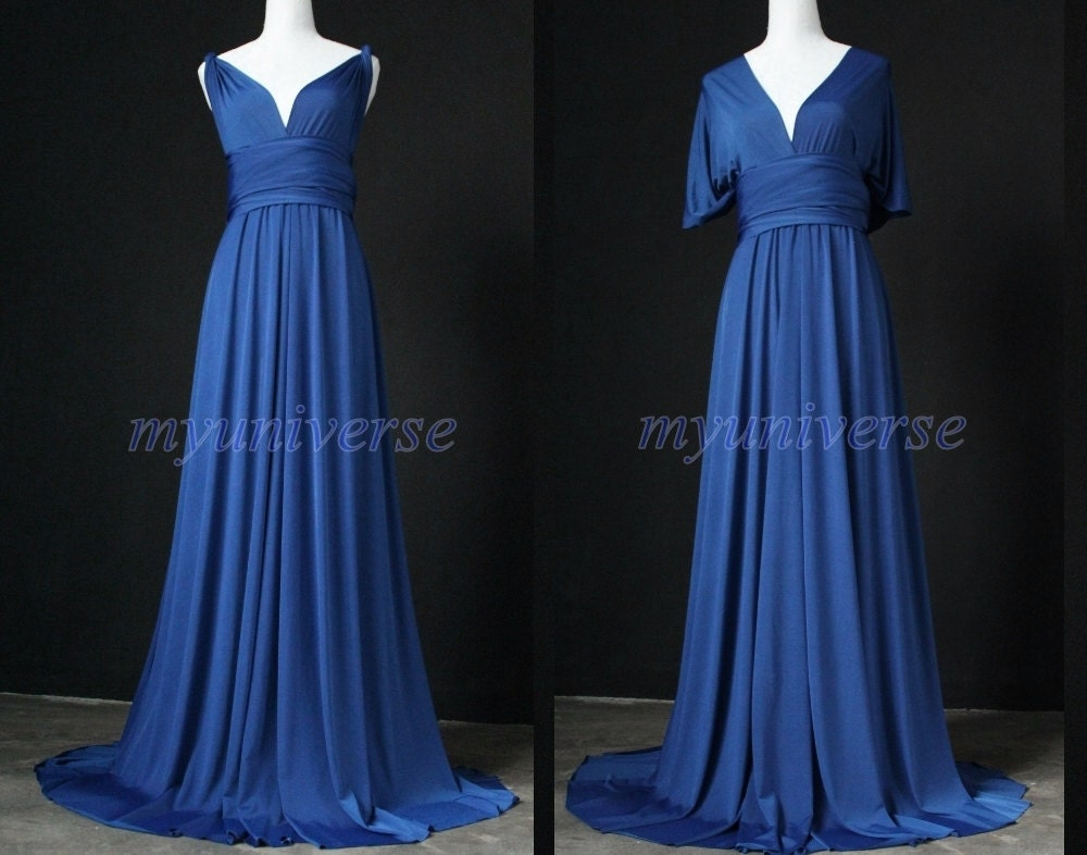 Cobalt Blue Bridesmaid Dress Infinity Dress Wrap Formal Dress