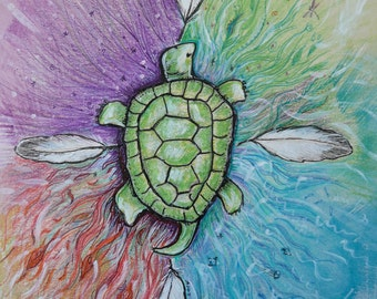 Turtle art, Native American art , four directions , home decor, totem animal turtle, Eli Thomas art, feathers , spirit art, turtle art gift