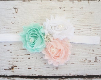 mint and pink baby headband, girls mint headband, shabby flower headband, rhinestone headband, shabby chic headband, easter headband, spring