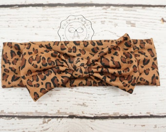 leopard top knot headwrap, top knot headband,  top knot head wraps, knot  leopard headband, baby leopard headband, girls top knot headband
