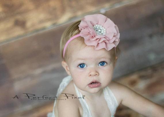 blush baby headband blush hair clip girls by PoshPeanutKids - Etsy