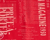 Suzuko Koseki Fashion Magazine Large Text in Red, Yuwa Fabric, SZ816914F, 100% Cotton Japanese Fabric
